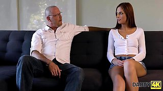 Scarlett Mae - Young Redhead And Boyfriends Daddy Have Taboo Sex On The Sofa