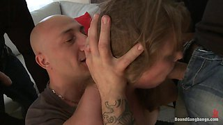 18 Year Old in her First Gangbang EVER