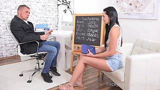 Zealous brunette Leanne Lace seduces handsome tutor and rides him on top