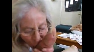 Hungry grandma fast handjob and cum in mouth