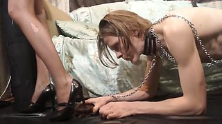 Mistress feeds her slave with a chocolate dessert (Part I)