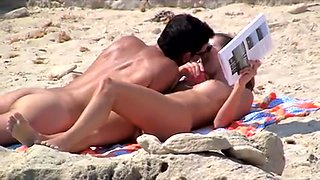 I have spied on charming couple of nudist and babe flashing her boobies