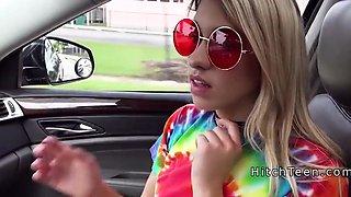 Cheating blonde gf bangs stranger in car
