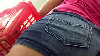 Jean Shorts A-Hole Constricted and Cameltoe