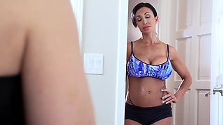 A fit milf is getting penetrated by a large black pecker in the shower