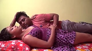 Hot lover big boobs pressing her girlfriend on bed