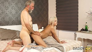 Old fart licks and fucks fresh pussy of young Czech babe Ria Sun