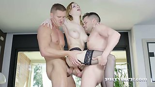 Czech porn model Belle Claire gets double penetrated after a hot photo session