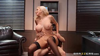 A Secretary With Big Fake Boobs And A Tiny Waist Gets Dicked By Her Boss - Nicolette Shea