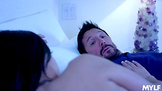 Spoiled and filthy daughter Savannah Sixx fucks her stepdad under mom's nose