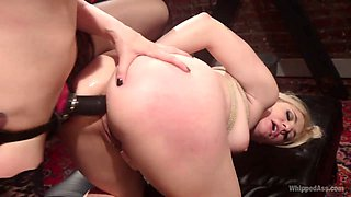 Aggressive mistress is fisting anus of sex-appeal tied up Dahlia Sky