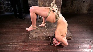 Tied up and suspended bitch Abella Danger is dildo fucked by one kinky dude