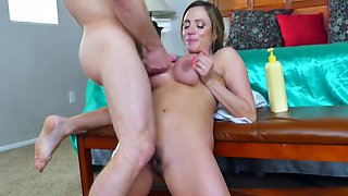 Busty Latina MILF double penetrated by stepson's friends on bed