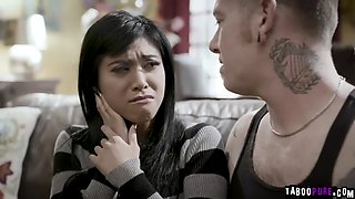 Flirty asian girlfriend fucks with boyfriends brother