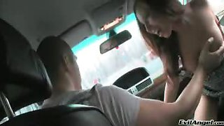 Cute girl gets fingered in the ass by a stranger in his car