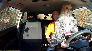 Fake Driving School Blonde Marilyn Sugar in Black Stockings