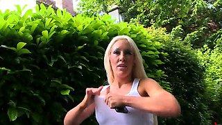 Big jugged blonde minx Lexi Ryder pissing outdoors
