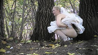 Russian bride and her bridesmaids take a piss in the woods