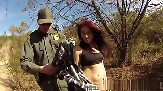 Brunette in police uniform and police gangbang first time Oficer of