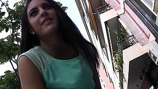 Cute sexy Spanish waitress chick Carolina Abril gets