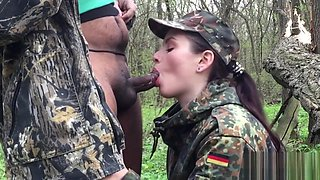 Army Girl Sucks Dick For a Mouthful of Cumplay & Swallow Thick Cum-IMWF POV