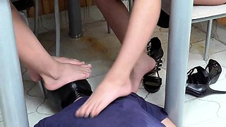 Fetish girls order guys to sniff their feet