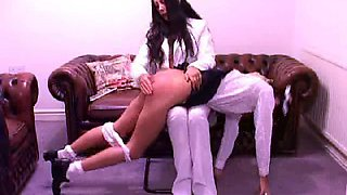 Spanking then nose on the wallwith hands on head and white panties down. Ending with hairbrush and paddle