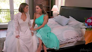 Sexy bride tries lesbian sex for the very first time