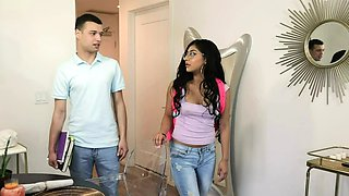 Family Strokes -Kinky Step Sis Blows Me While Moms Home
