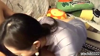 Chinese Secretary after work, cleaning and sucking boss' cock