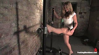 Hot blonde girl gets her smooth pussy toyed deep