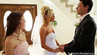 Hot blonde bride Tasha Reign gives blowjob to her fiancé Ryan Driller