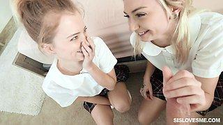 Cute and smiling college girl Chloe Temple enjoys random steamy MFF