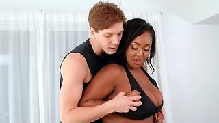 The buxom black lady fell in love with her yoga teacher