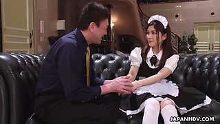 Beautiful Japanese maid Anna Kimijima gets hairy pussy banged missionary