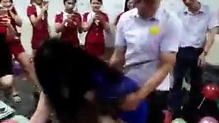 Hot, tall & slim Chinese girl fucked in front of everyone