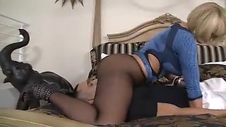 Delicious blonde MILF in stockings pantyhose fucks lucky boy