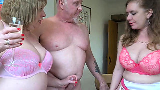 Oldies Trisha and Lily tag teamed an old man's fat cock