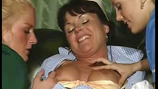 British lesbo nurses have a 3some on a leathersofa