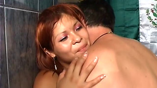 MEXICAN GIRL LETS SOME STRANGER EAT HER OUT AND FUCK HER FUZZY FUCK HOLE.