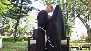 Horny bootyful nun is ready to be brutally fucked outdoors for orgasm