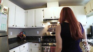 Bosomy ginger mom Lady Fyre knows what her 19 yo stepson needs