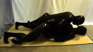 Kinky amateur lovers in latex indulge in hardcore sex action