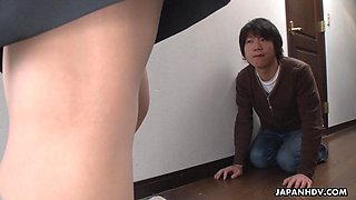 Japanese cougar Marina Matsumoto makes young guy lick her pussy sitting on his face