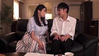 Curvy Japanese milf enjoys a wild romance with a young guy