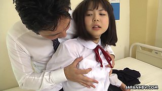 Horny tutor seduces charming Jap college girl Tomoyo Isumi to fuck her hard