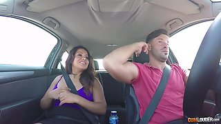 Nasty brunette isnt only sucking dick in the car, she is also getting fucked in the ass