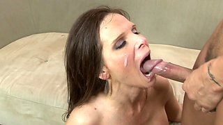 A lot of sperm gets into the mouths of hungry for cum females