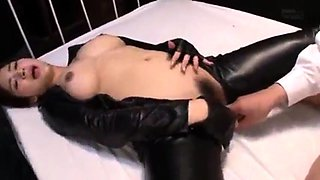 Busty Japanese wife in latex gets shared by a group of guys
