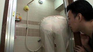 Girl taking a shower voyeur